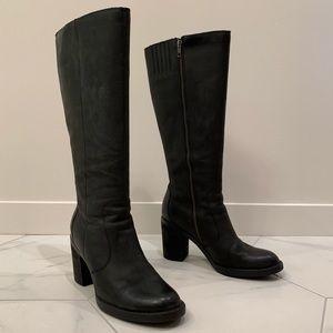BORN  Malika black leather knee-high boots